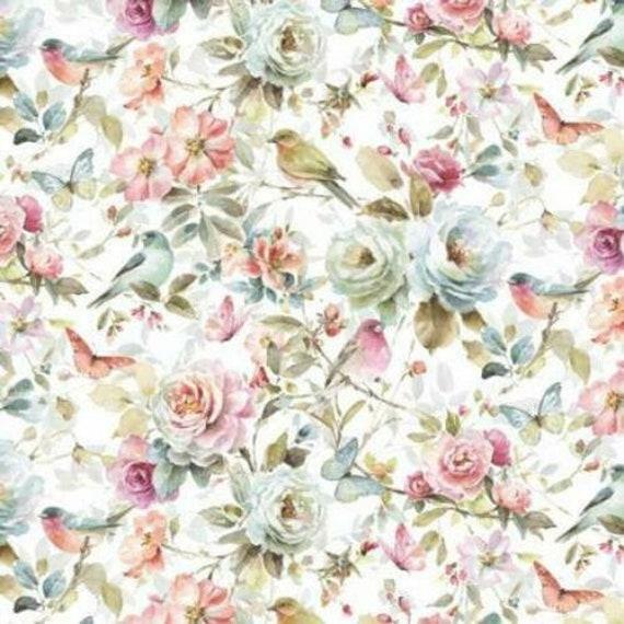Floral Fabric, Bird Fabric: David Textiles Beautiful Romance Birds & Flowers LA-0152-7C  100% cotton Fabric By The Yard (DA151)