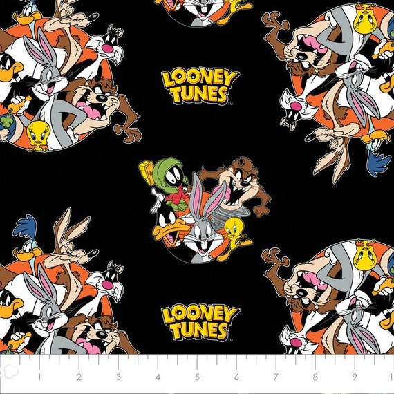 Looney Tunes Fabric: Camelot Looney Tunes That's All Folks! in Black Looney Tunes Characters Logo 100% cotton fabric by the yard (CA56AA)