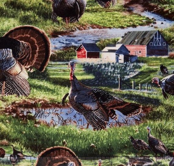 "Farm Fabric, Thanksgiving Fabric: Wild Wings Wild Fancy Turkey Scenic - Turkey Fabric  100% cotton Fabric by the yard 36""x43"" (SC628)"