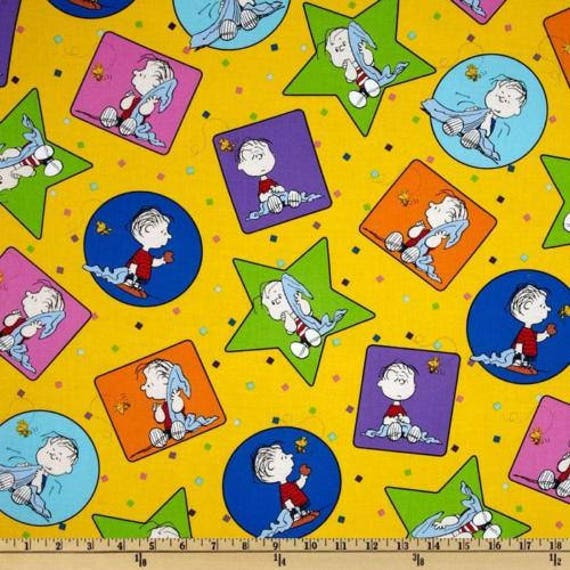 Peanuts Project Linus Charlie Brown Words White Cotton Fabric QT By The Yard