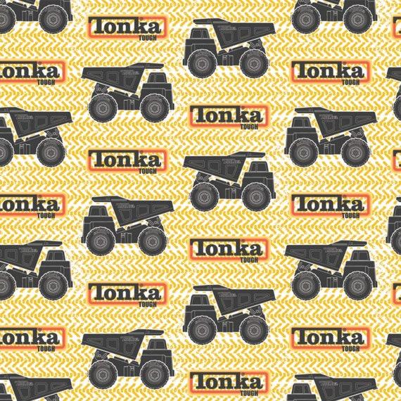 Toy Fabric, Truck Fabric: Camelot Tonka Tracks and Trucks Yellow Premium  100% cotton Fabric by the yard (CA1042KK)