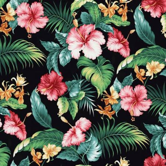 Floral Fabric: Springs Creative Tropical Paradise  Hibiscus rosa-sinensis on Black  100% cotton Fabric by the yard (SC1457KK)