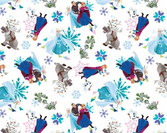 IN STOCK Disney Fabric: New Disney Frozen Characters Toss- Elsa, Anna, Kristoff, Olaf, Sven on Snow White 100% cotton fabric (SC384)