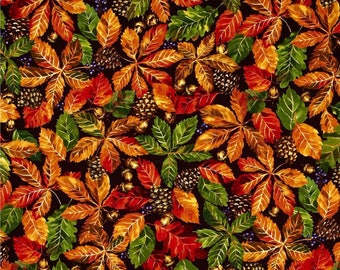 New Fabri-Quilt Autumn Fall Retreat Leaves, Pine cones, and Acorn Packed Brown 100% Cotton Fabric by the yard FQ283