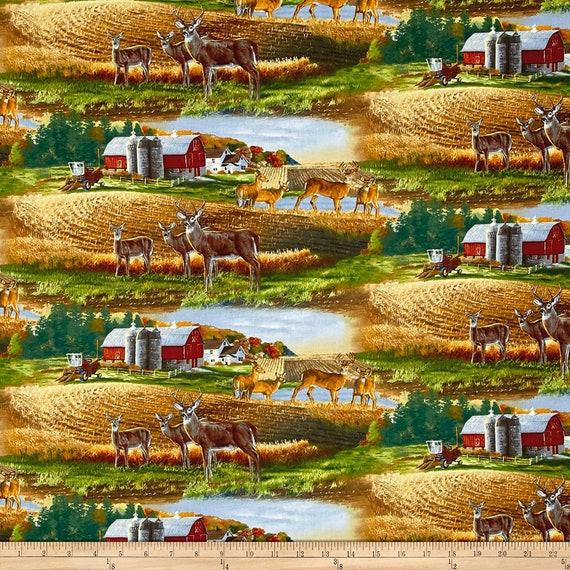 Deer Fabric: Elizabeth's Studio Whitetails Scenic Multi Red Barn Farm 100% cotton Fabric by the yard ( ES347KK)
