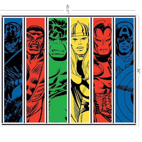 """Marvel Fabric, Avengers Fabric: Marvel Retro collection Avengers Team Up Panel  100% cotton Fabric By The Panel 35""""x43"""" (CA292AA)"""