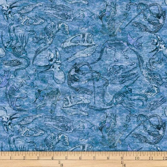 Fossils Fabric: Quilting Treasures Fabrics Dan Morris Lost World Fossils Fabric, Blue 100% cotton Fabric by the yard (QT918)