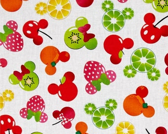 "IN STOCK  Disney Fabric: Disney Mickey Mouse, Mickey and Friends, Mickey Minnie Fruit on White 100% cotton fabric by the yard 36""x43"" (A296)"