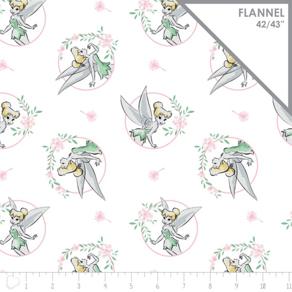 100/% Cotton Fabric Panel Springs Creative I Love Tinkerbell Heart