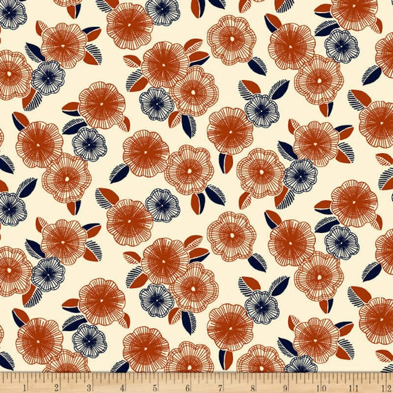 Flower Fabric: Quilting Treasures Fabrics Gretta 1930's Spaced Floral Fabric, Cream 100% cotton Fabric by the yard (QT1025)