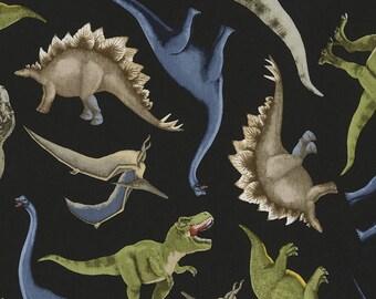 Dinosaur Fabric: Timeless Treasures Dinosaur Toss on Black  - C5726 Dinosaur  100% cotton Fabric by the yard ( TT428)