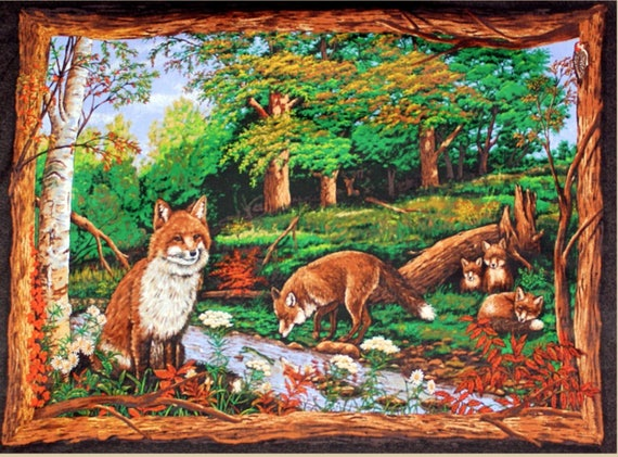 Fox Fabric: Spring Creatives Woodhaven Animals Wall Hanging Fox Love Wallhanging / Quilt Top Panel 100% cotton Fabric by the panel (SC989)