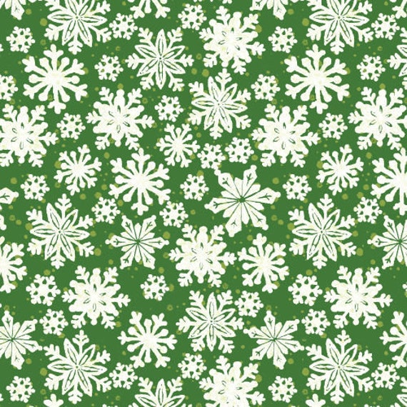 Christmas Fabric, Snowflakes Fabric:  Fabri-Quilt Seasons Greeting Snowflakes on Green 100% cotton fabric by the yard  (FQ182)