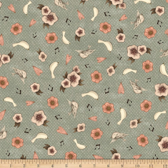 Flower Fabric: QT Fabrics Lost Song Flower & Dove Toss Fabric, Medium Dusty Teal 100% cotton Fabric by the yard (QT805)