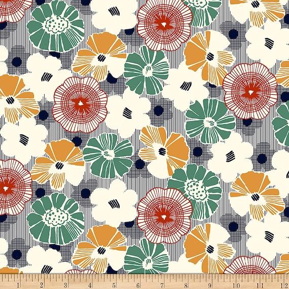 Flower Fabric: QT Fabrics Gretta 1930's Floral Fabric, Navy 100% cotton Fabric by the yard (QT818)