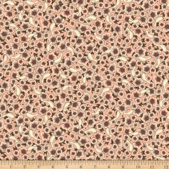 Flower Fabric: QT Fabrics Lost Song Packed Flowers Fabric, Pale Coral 100% cotton Fabric by the yard (QT820)