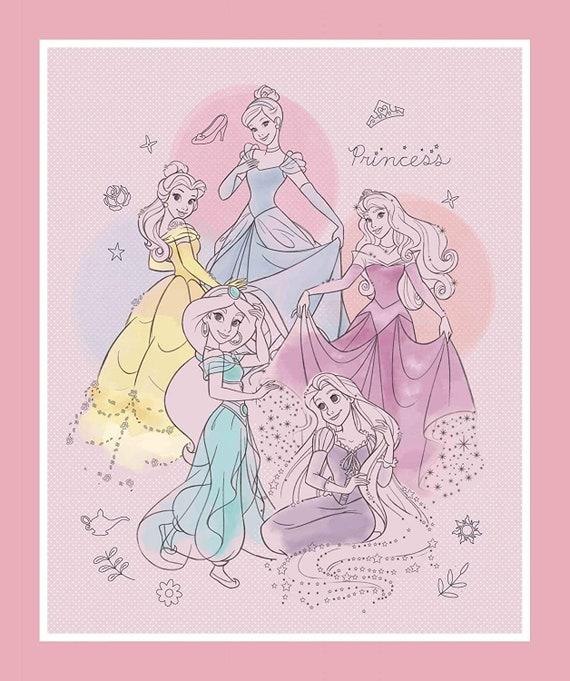 Disney Fabric: Disney Princesses Pretty Princesses -Belle, Cinderella, Rapunzel, Aurora, Jasmine 100% cotton fabric by the panel  (SC1516KK)