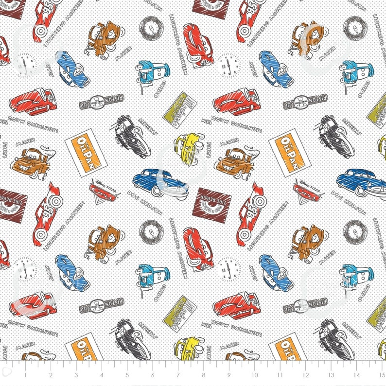 Disney Pixar Cars Tow Mater in Yellow Camelot 100/% cotton fabric by the yard