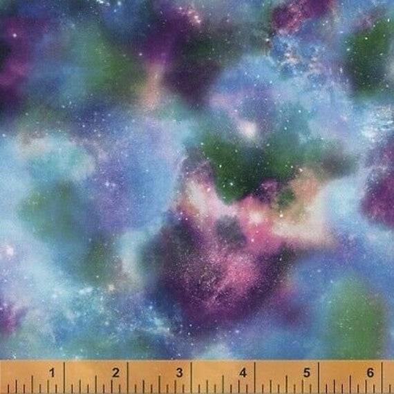 Sky Fabric, Cloud Fabric: Interstellar Colorful Sky Windham Fabrics 51007 Premium 100% cotton fabric by the yard (M647)