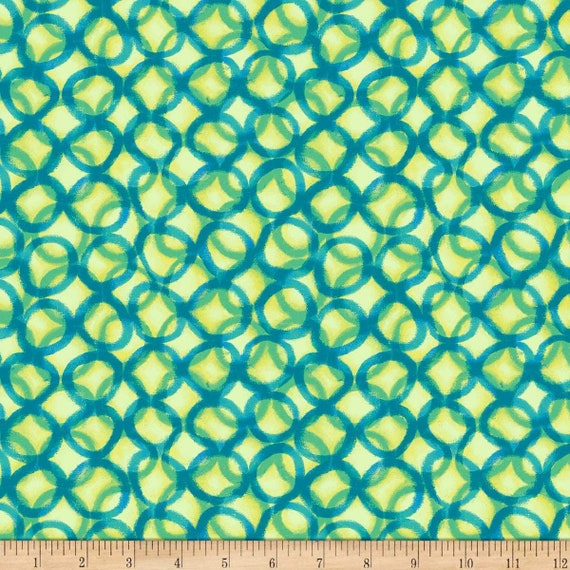 Pattern Fabric: Quilting Treasures Fabric Mirage Interlocking Circles Light Green 100% cotton Fabric by the yard (QT1082)