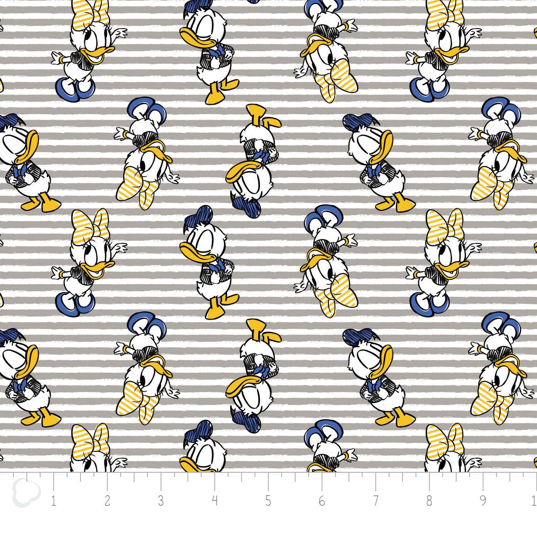 Disney Fabric Disney Daisy Donald Duck In Royal Grey Stripe By