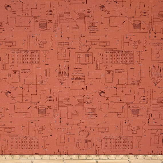 Geometric Fabric: Ink & Arrow Frequency Circuitry Salmon 100% cotton Fabric by the yard (QT816)