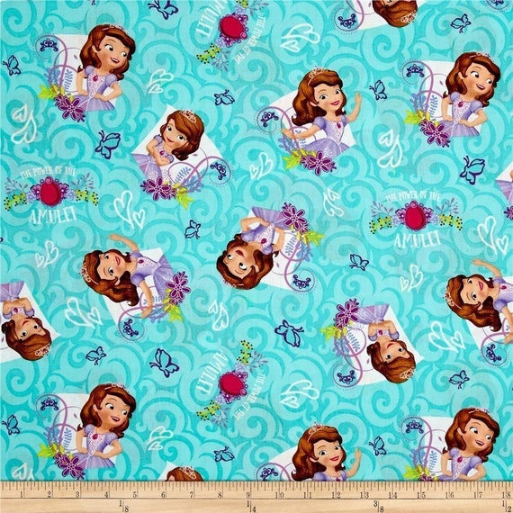"""Disney Fabric, Disney Princess Fabric: Sofia The First Garden Floral Power of the Amulet Teal 100% cotton Fabric by the Yard 36""""x43"""" (SC103)"""