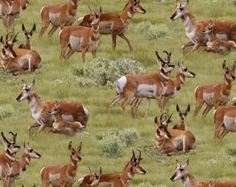 "In Stock: Elizabeth's Studio North American Wildlife Antelope Green 100% cotton fabric by the yard 36""x43"" - ES5"