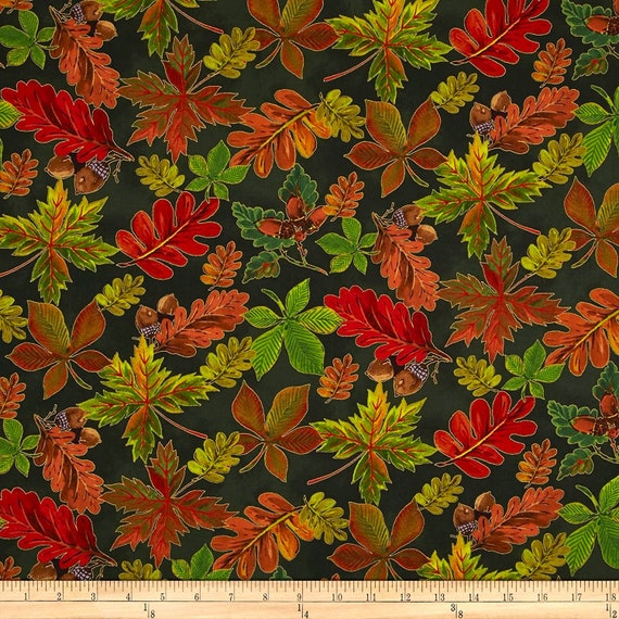 Floral Fabric, Leaves Fabric: Fabri-Quilt Golden Harvest Metallic Fall Leaves with Acorn 100% cotton fabric by the yard  (FQ199)