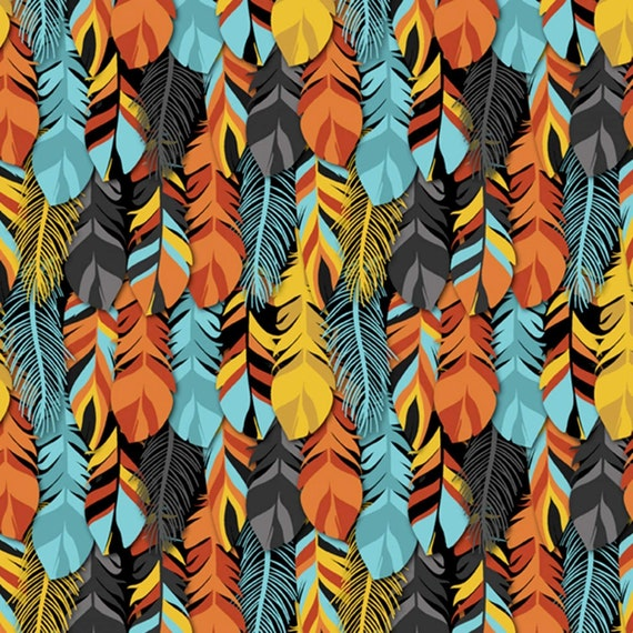 Feather Fabric: David Textiles Native American Themed Packed Feathers Premium Quality  100% cotton fabric by the yard (DA23XX)