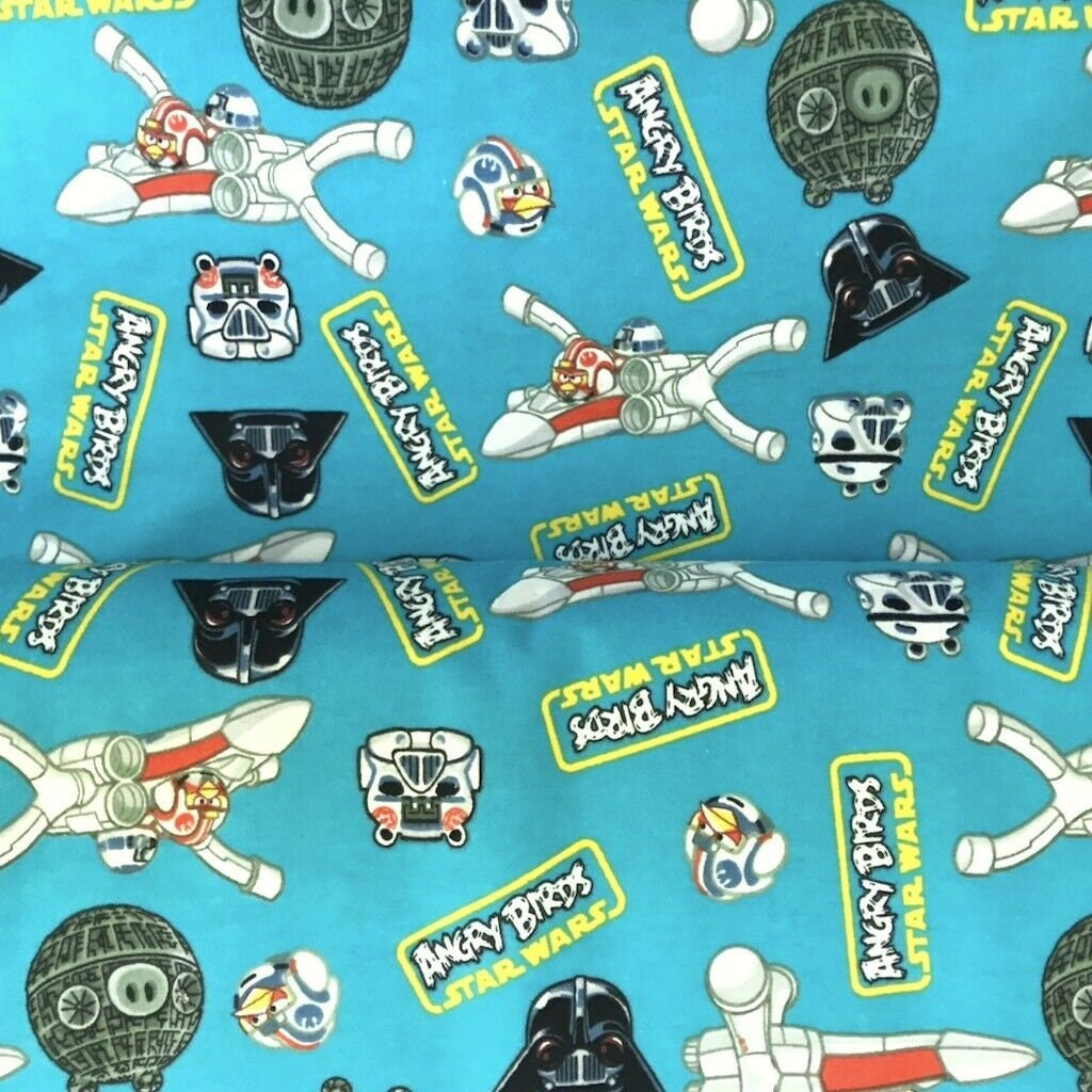 Star Wars Fabric, Angry Bird Fabric: Camelot Angry Birds Star Wars  Characters Toss Blue Flannel 100% cotton Fabric by the yard (CA1052)