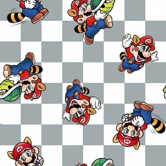 Mario Fabric, Nintendo Fabric: Nintendo Super Mario Retro Checker Mario Power  100% cotton fabric by the yard (SC375BB)