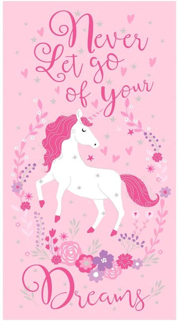 """Unicorn Fabric: Timeless Treasures Never Let Go Of Your Dreams Unicorn Panel Metallic Pink  100% Cotton Fabric by the panel 24""""x43"""" (TT745)"""