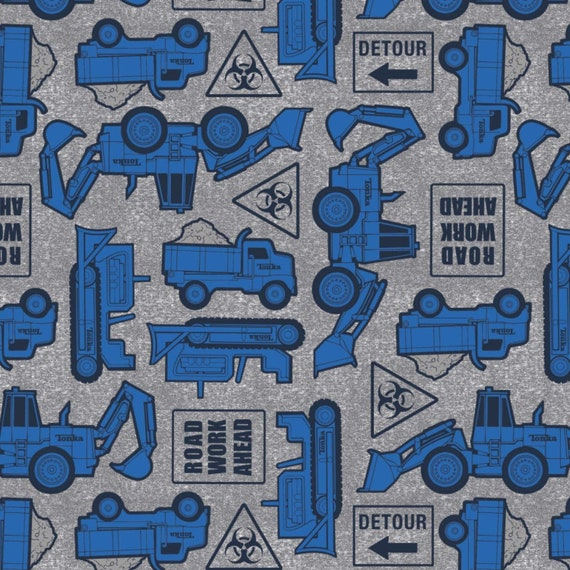 Toy Fabric, Tonka Truck Fabric: Camelot Tonka Road Work Ahead Blue and Street Sign Premium  100% cotton fabric by the yard (CA1399KK)