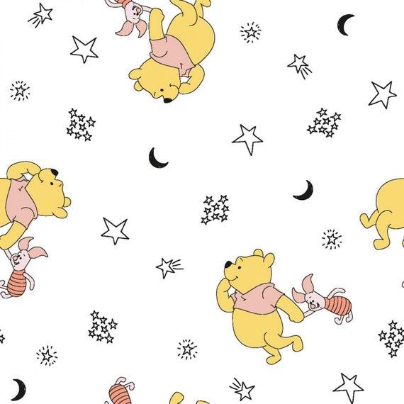 Disney Fabric, Cartoon Fabric: Disney Winnie The Pooh & Piglet Stars White Springs Creative 100% cotton Fabric By The Yard (SC1531KK)