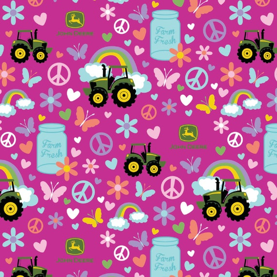 John Deere Fabric: John Deere  John Deere Farm Fresh Magenta -Milk bottles, butterfly, and flower 100% cotton Fabric by the yard SC468