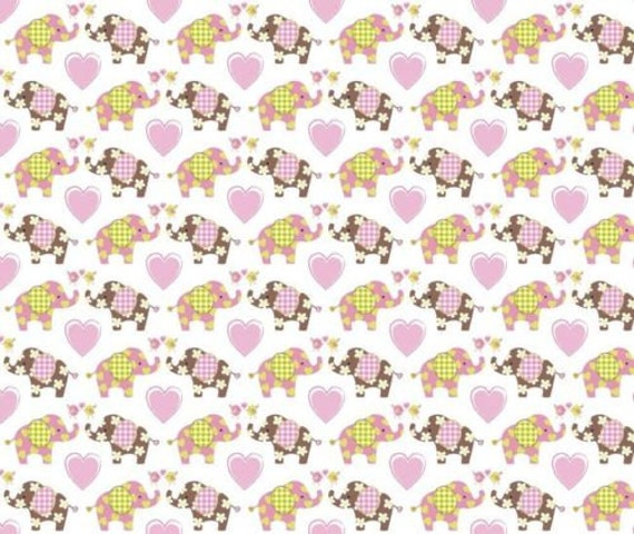 """Elephant Fabric, Nursery Fabric: Best friends Love Elephants with Flowers and Hearts on white 100% cotton fabric by the yard 36""""x43"""" (SC32)"""