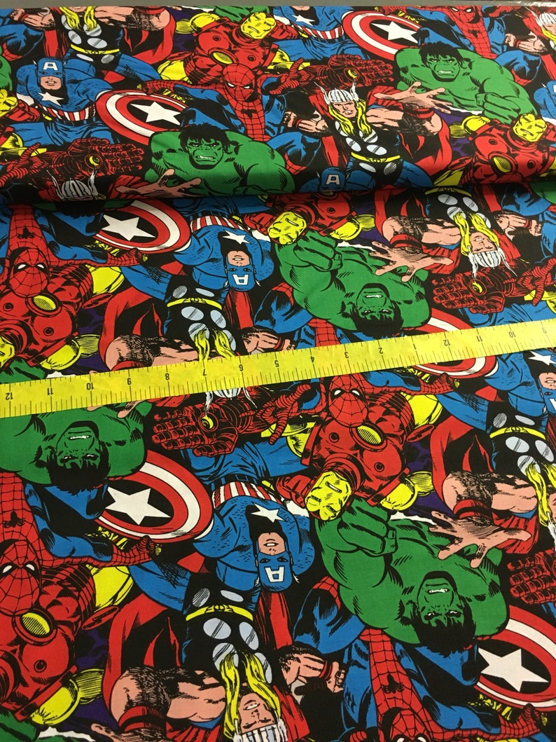 Marvel Comics CAPTAIN MARVEL GALACTIC BLUE 100/% Cotton Fabric By The Yard