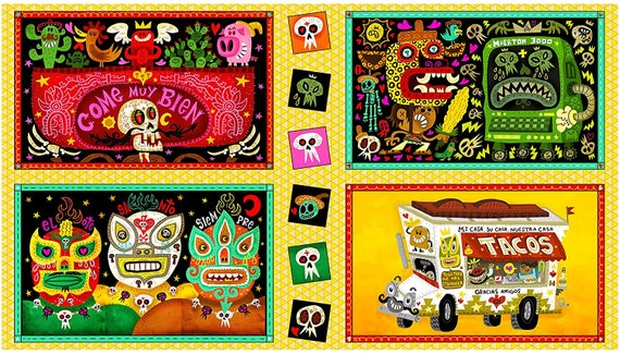 Skull Fabric: Quilting Treasures Hot Tamale Large Foodie Patches- Taco Food Truck Skulls 100% cotton fabric by the PANEL  (QT1127KK)