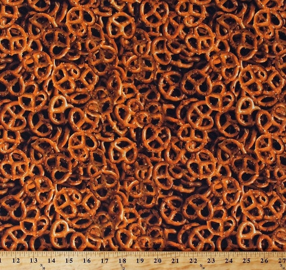 Food Fabric, Pretzel Fabric:  Windham One of a Kind Pretzels 50909-x Food Theme Whistler Studios 100% Cotton Fabric by the yard  (M408)