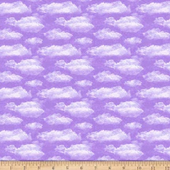 Clouds Fabric: QT Fabrics Faith Clouds Fabric, Lavender 100% cotton Fabric by the yard (QT811)
