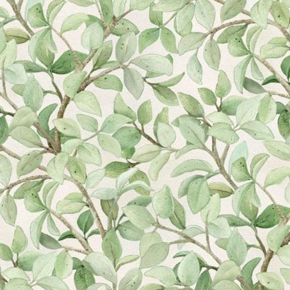Leaves Fabric: Elizabeth's Studio Beautiful Birds Branches Leaves Cream Premium 100% cotton Fabric By The Yard (ES473)