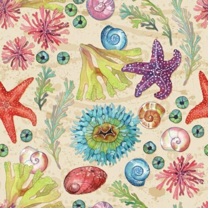 Seashells Fabric DA187 Four Seasons Tidepool Seashells Digital Sand 100/% cotton Fabric By The Yard