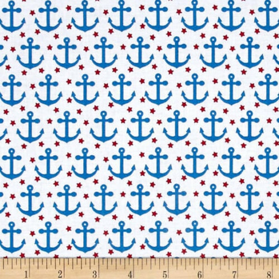 Anchors Fabric: Robert Kaufman Fabulous Foxes Anchors White 100% cotton Fabric by the yard (RK200)
