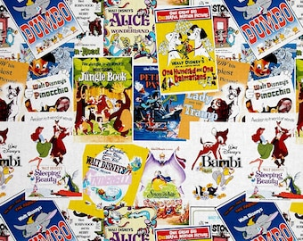 Disney Fabric, Cartoon Fabric: E. E. Schenck Disney Posters The Greatest Love Story Ever Told 100% cotton fabric by the yard (SC604)