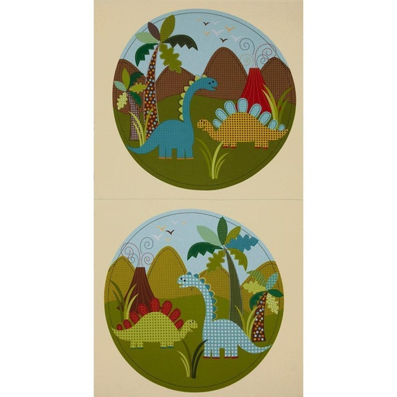 "Dinosaur Fabric, Cartoon Fabric : Michael Miller Dinosaur Quilt Top Panel 100% cotton fabric by PANEL 23""x44"" (C222)"