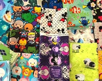 Cartoon Fabric: Cartoon Remnant fabric - Fabric By The Pound -Disney, Marvel, Nintendo, Star wars, Nickelodeon  100% Cotton Quilt Fabric