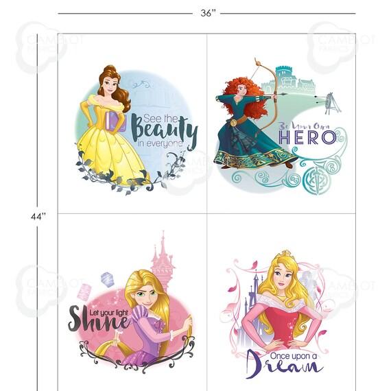Disney Fabric, Princess Fabric: Camelot Princess DREAM BIG Belle, Aurora, Rapunzel, Merida  100% cotton fabric by the panel (CA903)