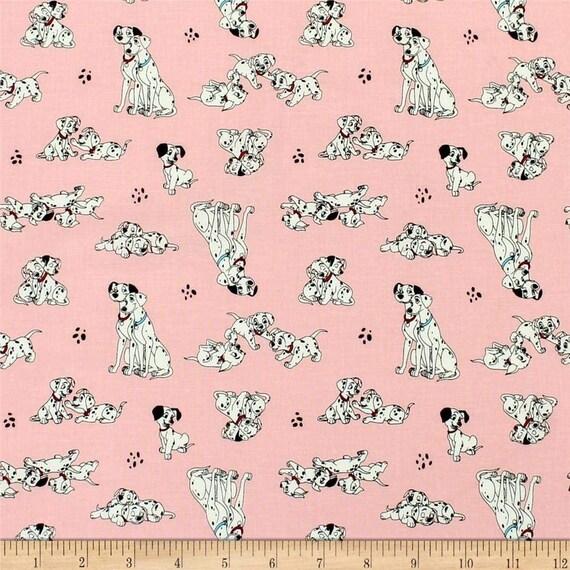 Disney Fabric, Cartoon Fabric: Camelot Disney 101 Dalmatians Pongo Perdy & Puppies Pink  100% cotton Fabric by the yard (CA1198)