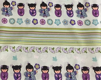 "Cherry Blossom Festival - Dolls and Floral Stripe by Benartex 100% cotton Fabric by the yard 36""x44""  (K334)"